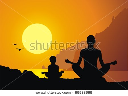 stock-vector-mother-with-the-daughter-practice-yoga-against-a-sunset-99938669